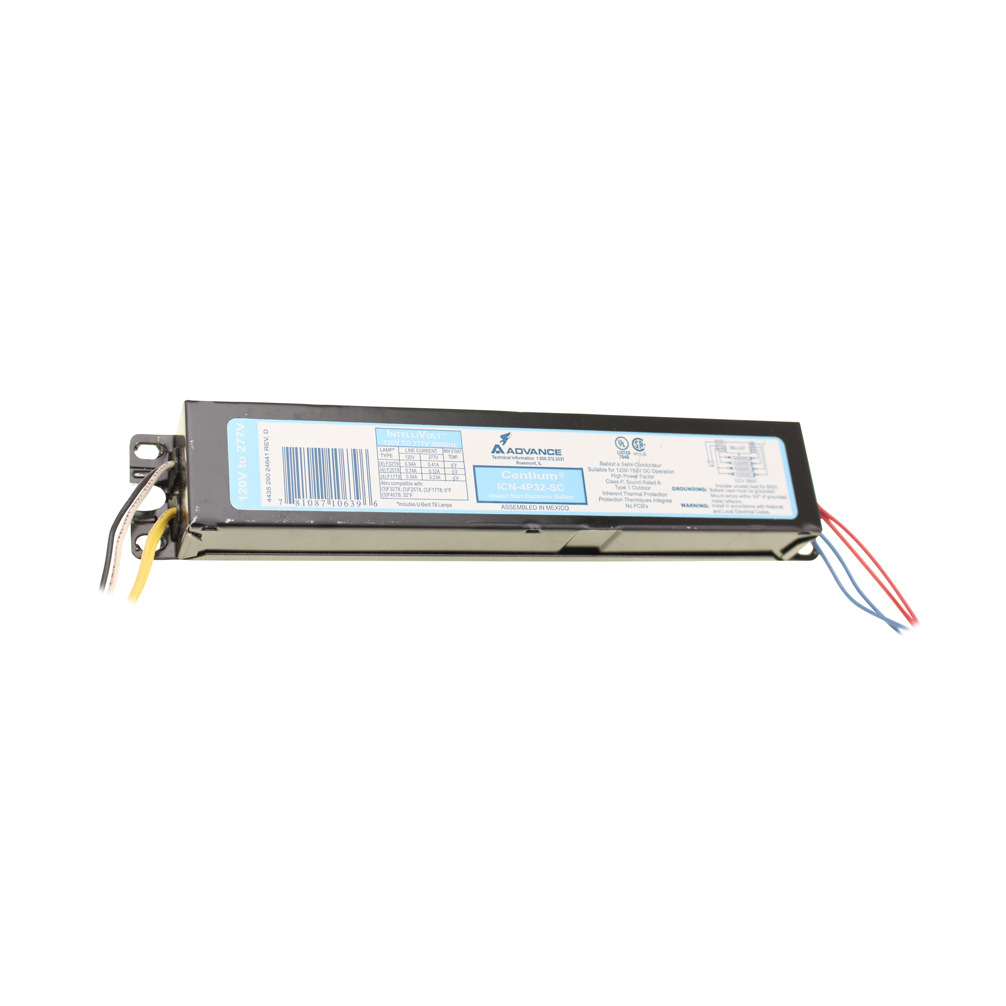 icn 4p32 sc electronic fluorescent ballast 4 lamp 32w t8 120 277v. Black Bedroom Furniture Sets. Home Design Ideas