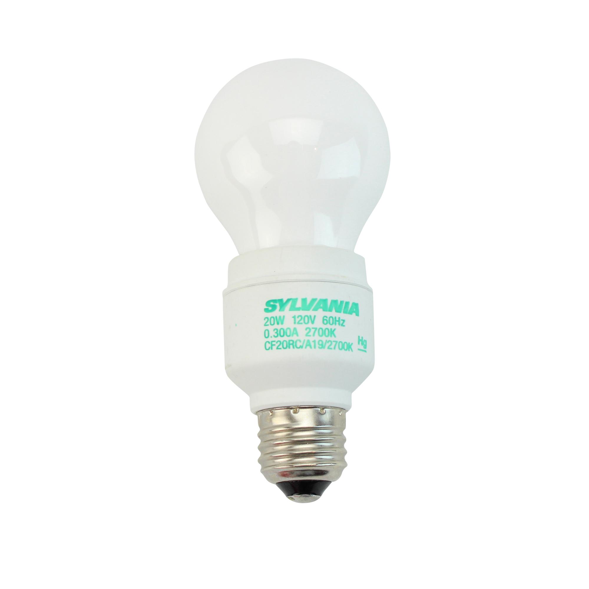 20w Led Bulb A19: SYLVANIA CF20RC/A19/827 29537 A19 E26, 2700K, CFL LIGHT