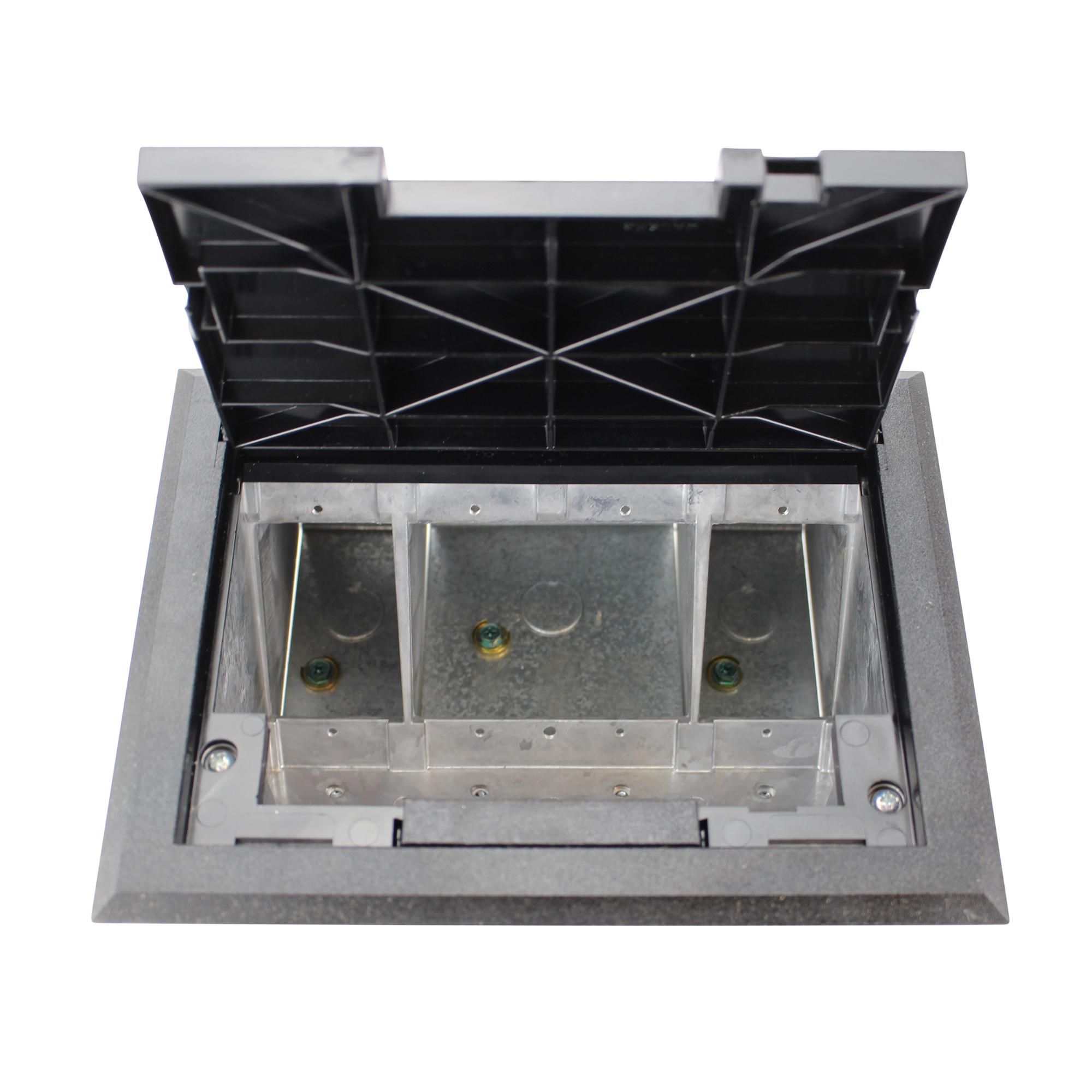 wiremold legrand af1 kt raised floor box with black tile cover trim ebay. Black Bedroom Furniture Sets. Home Design Ideas