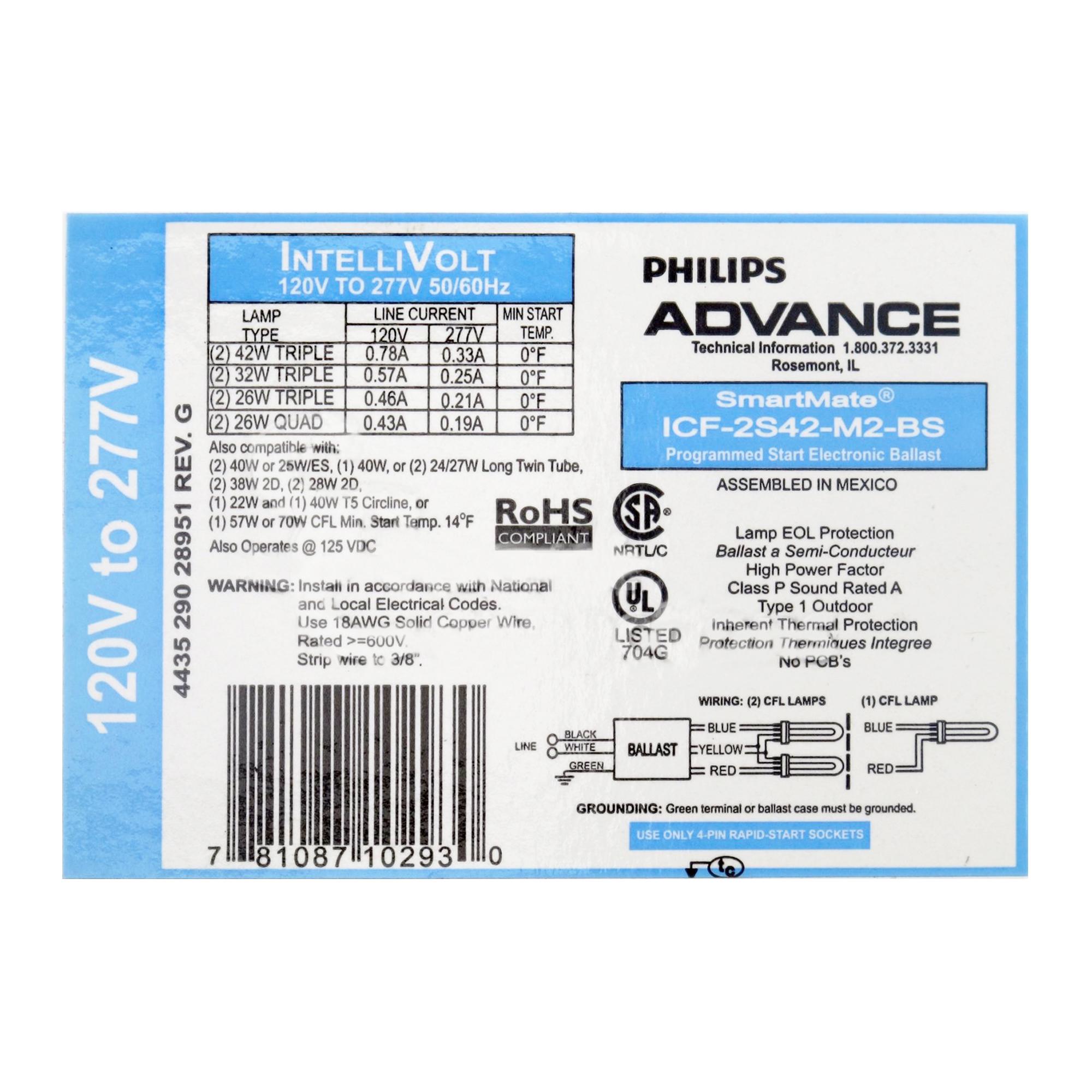 PHILIPS ADVANCE ICF-2S42-M2-LD-K CFL Ballast,Electronic,93W,120//277V