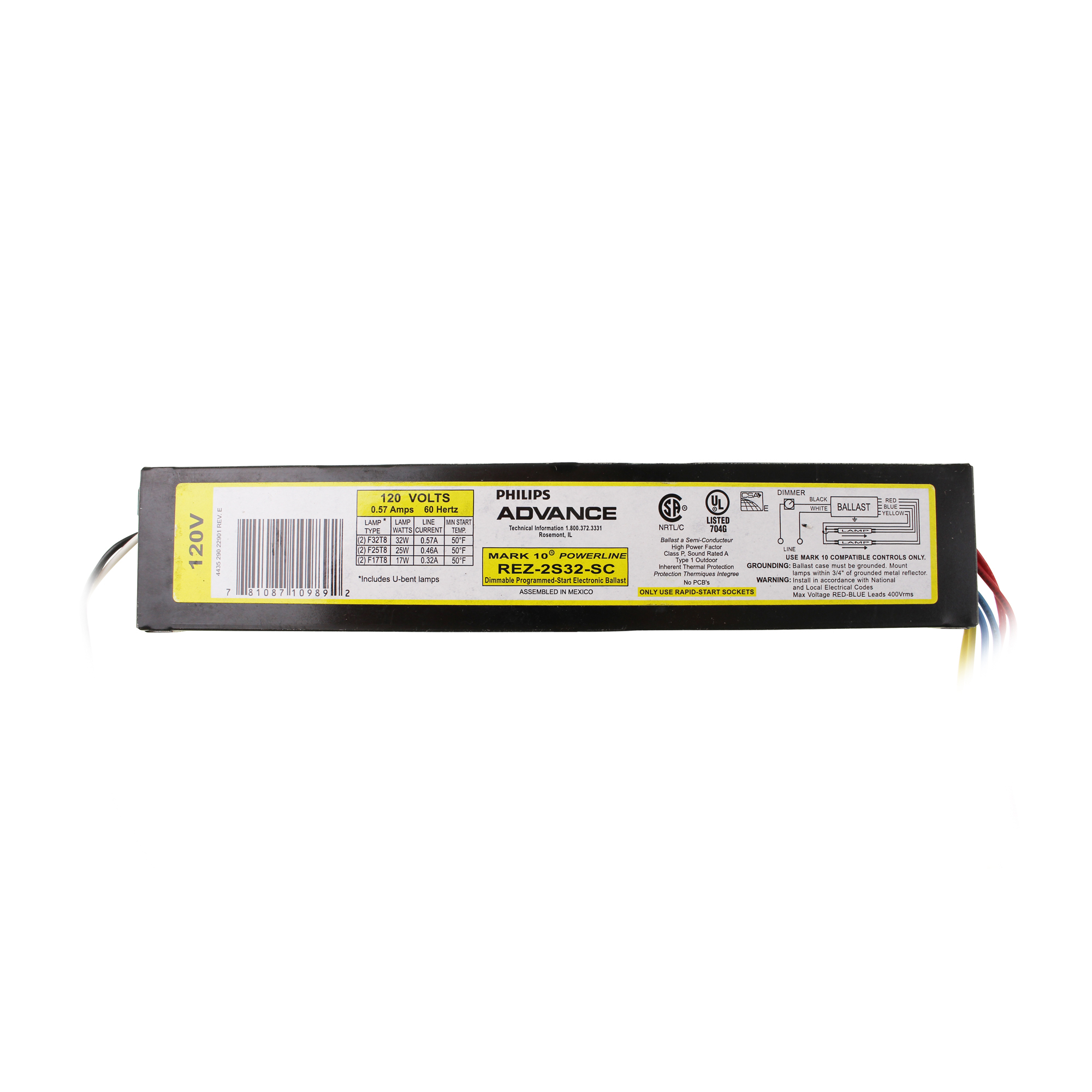 Advance Rez 2s32 Sc Dimming Fluorescent Ballast 2 Lamp F32t8 32w Dimmable Electronic Circuit Feature Included This Auction Is For 1 T8