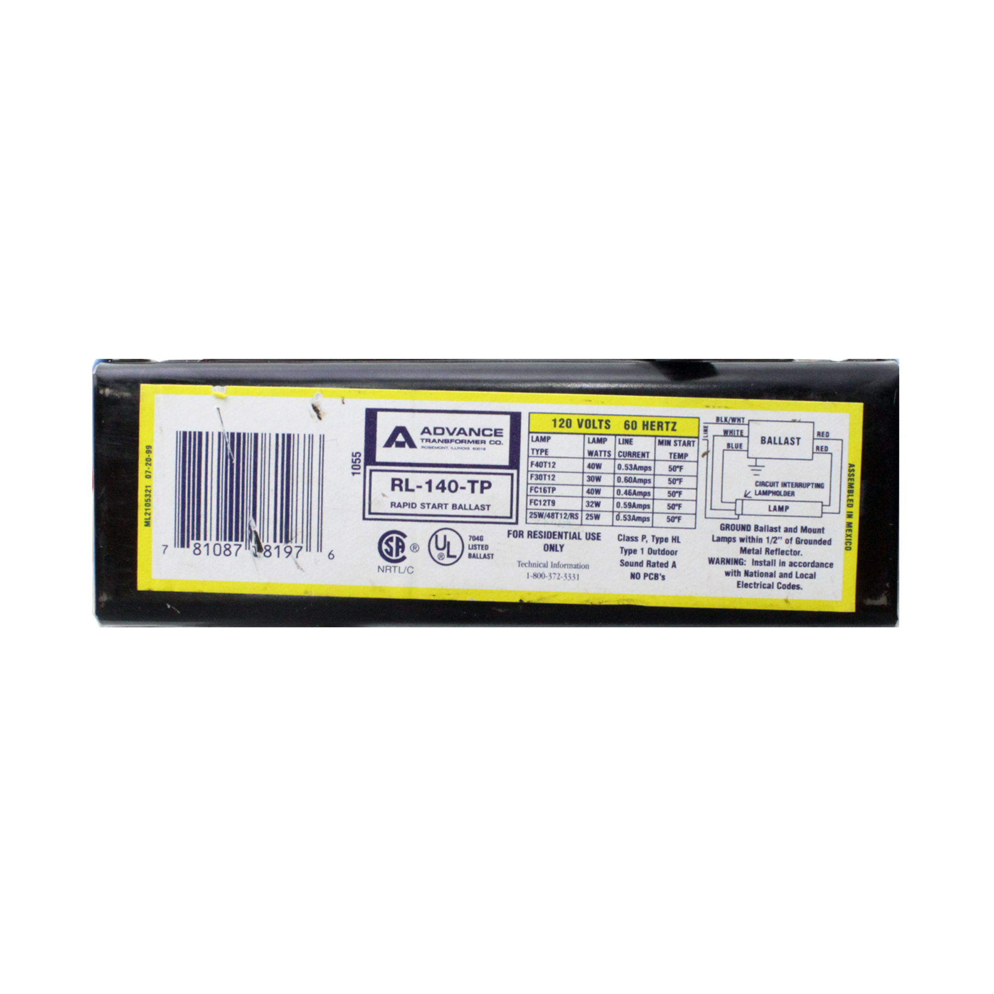 Fluorescent Light Delayed Start: ESPEN VE240MVHRP HPF OUTDOOR ELECTRONIC BALLAST, 2 LAMP