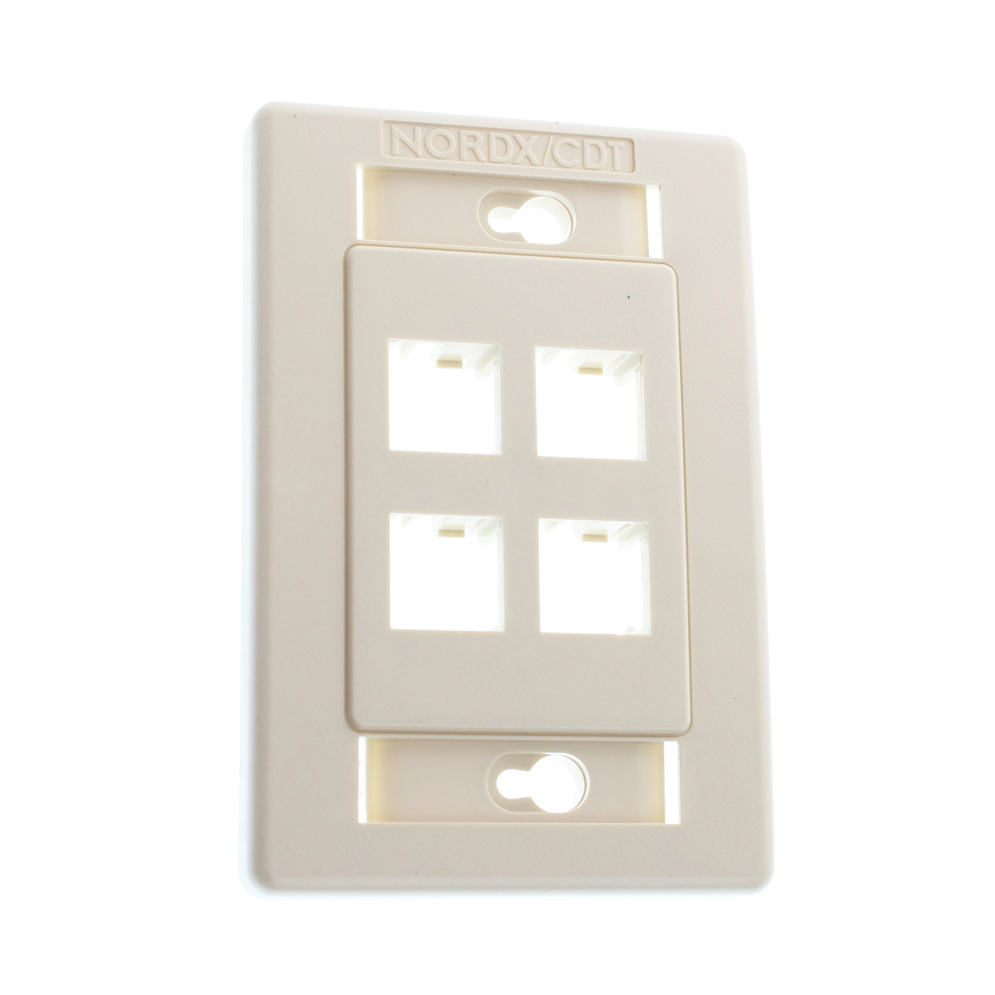BELDEN AX101436 FLUSH MOUNT NETWORK FACEPLATE, 4 PORT, MDVO, ALMOND ...