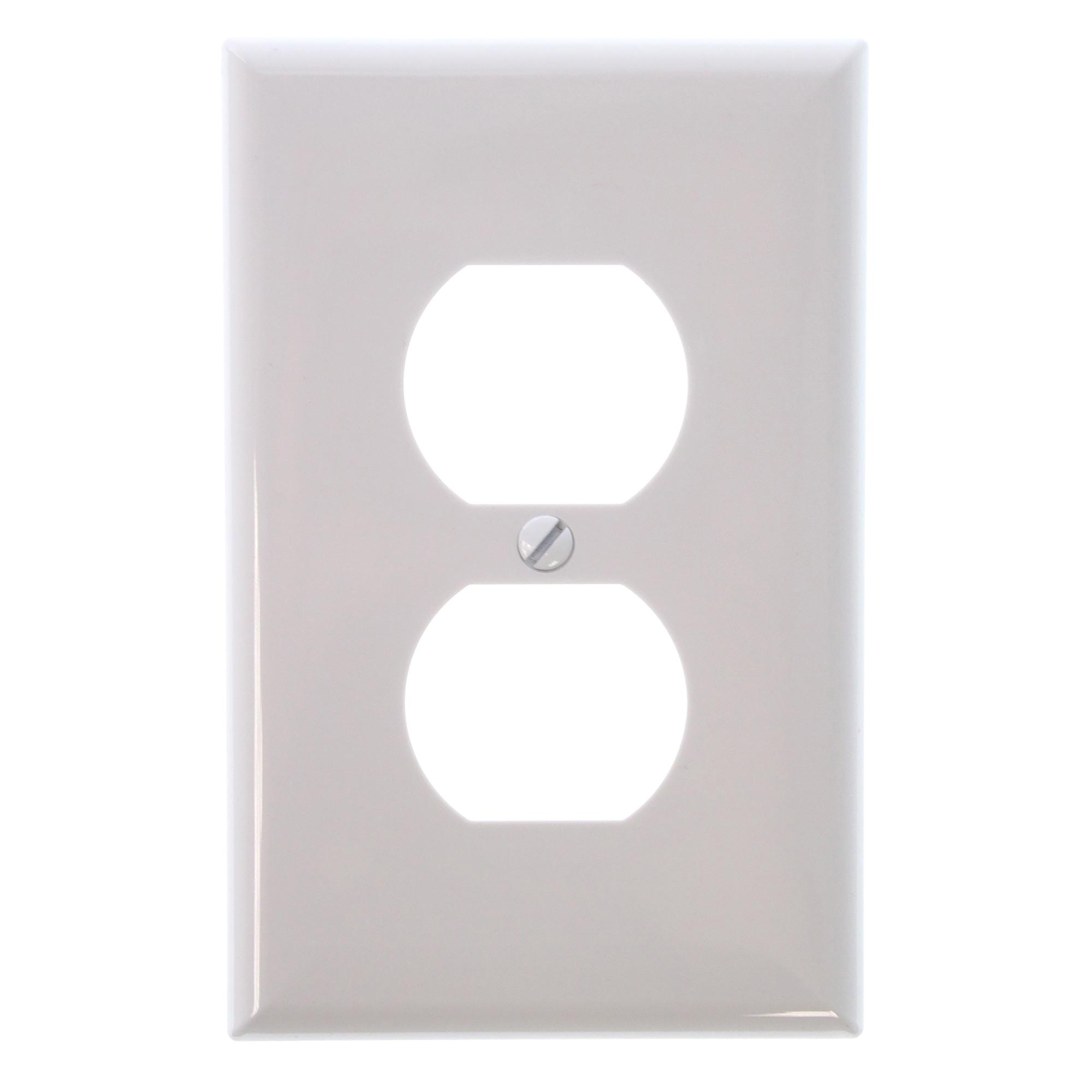 2pcs-Cooper 5132W Standard Size Duplex Receptacle Wallplates Nylon 1-Gang