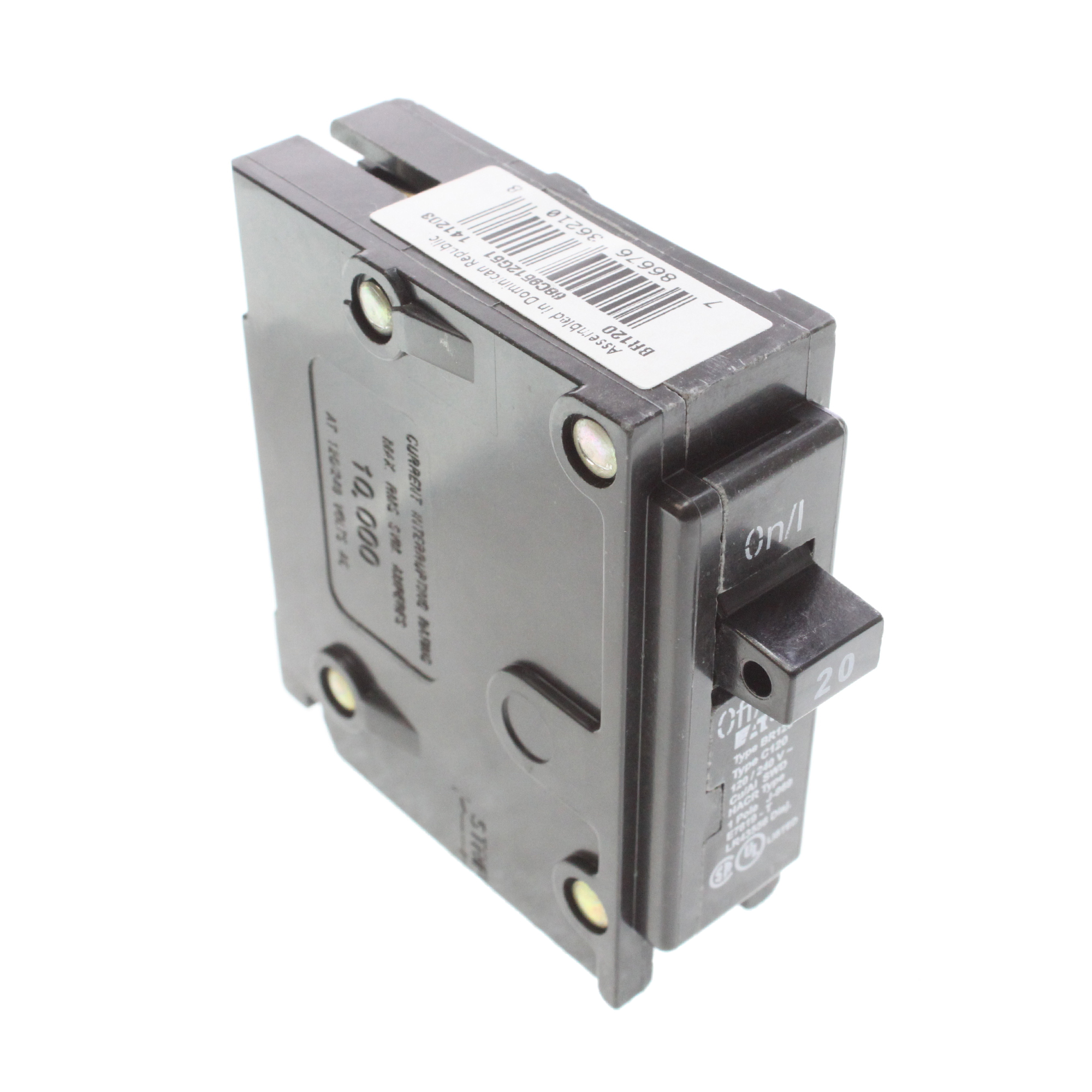 CUTLER HAMMER EATON Br120 Plug-On Circuit Breaker, Br, 20-Amp, 1 ...