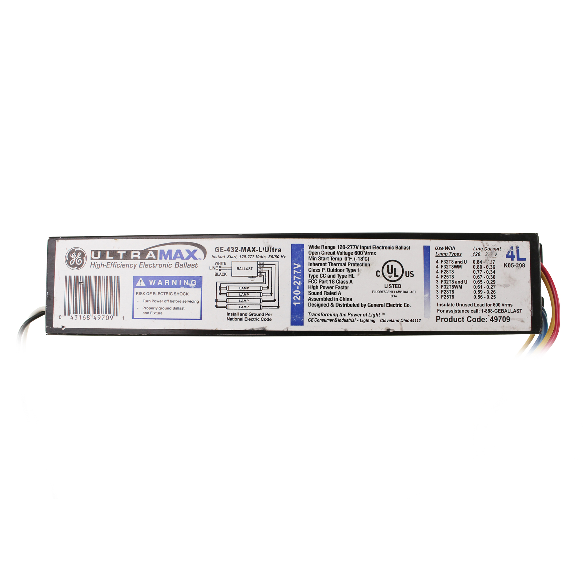 Ge 432 Max L Ultra Lmpara Fluorescente Lastre Electrnico 4 32 Voltage Output Electronic Ballast Wiring Diagram 277v This Auction Is For 1 Fluorescent Lamp 32w T8 120