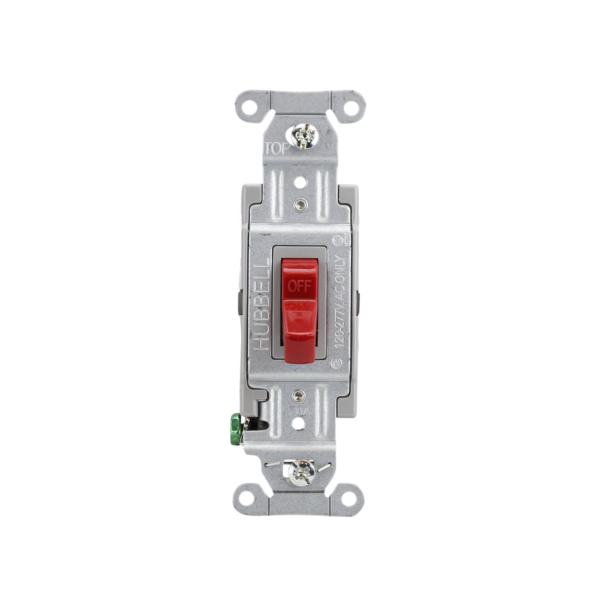 Hubbell 20A Illuminated Toggle Switches HBL1221ILC Red 120-277 VAC Spec Grade