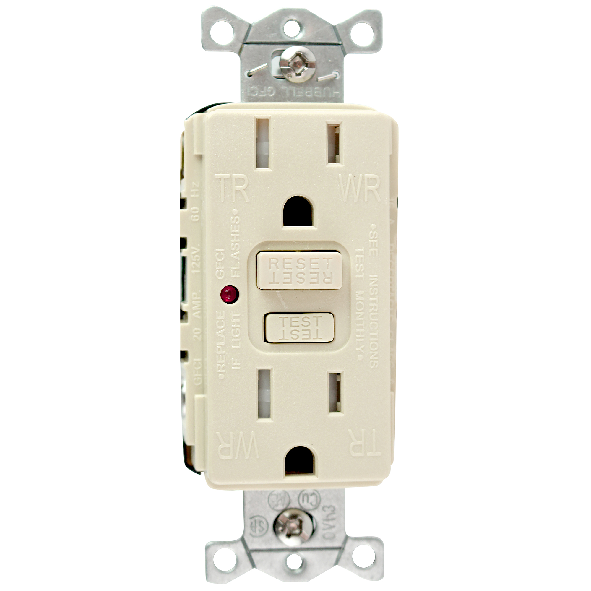Hubbell Wiring Device Kellems Gftr15i Gfci Receptacle 15a Commercial Receptacles Tr Weather Resistant 125v Ivory