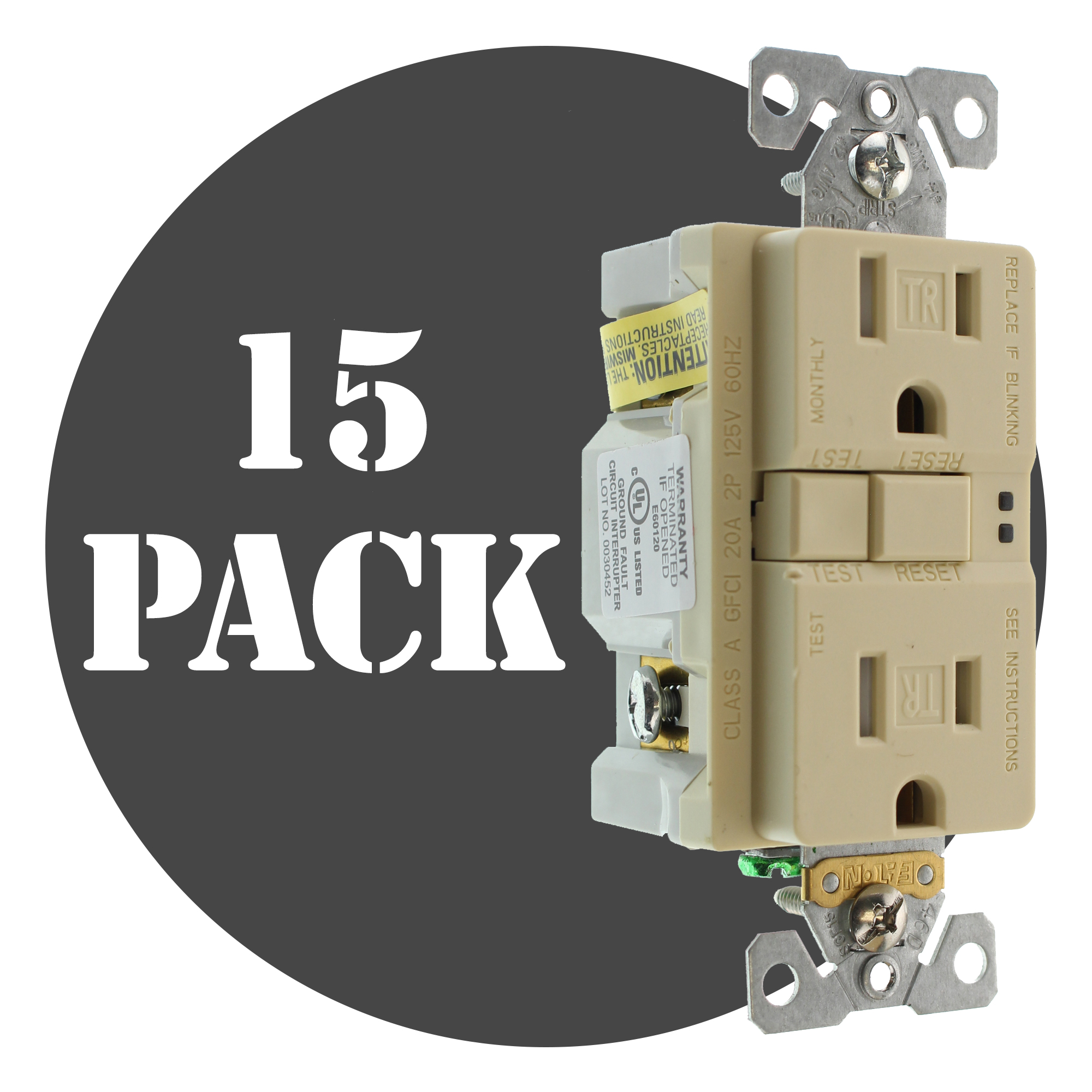 Hubbell Gftrst15i3z Tamper Gfci Receptacle Tr 15a 125v Ivory Learn How Ground Fault Circuit Interrupters Can Protect Against This Auction Is For 15 Pack