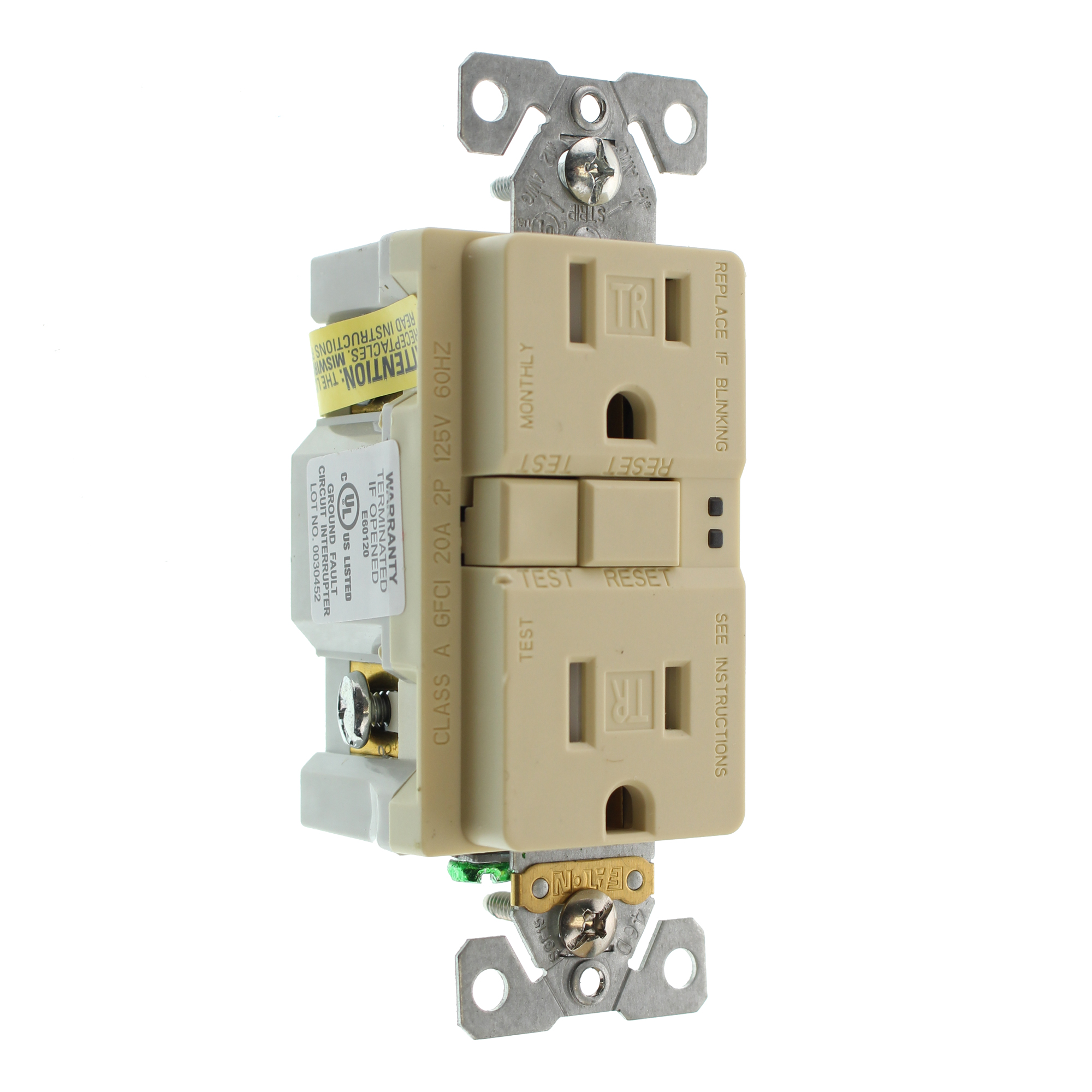 Groundfault Circuit Interrupter Outlet Eaton Cooper Trsgf15v 3 L Tamper Gfci Receptacle Tr 15a 125v This Auction Is For Ivory Pack