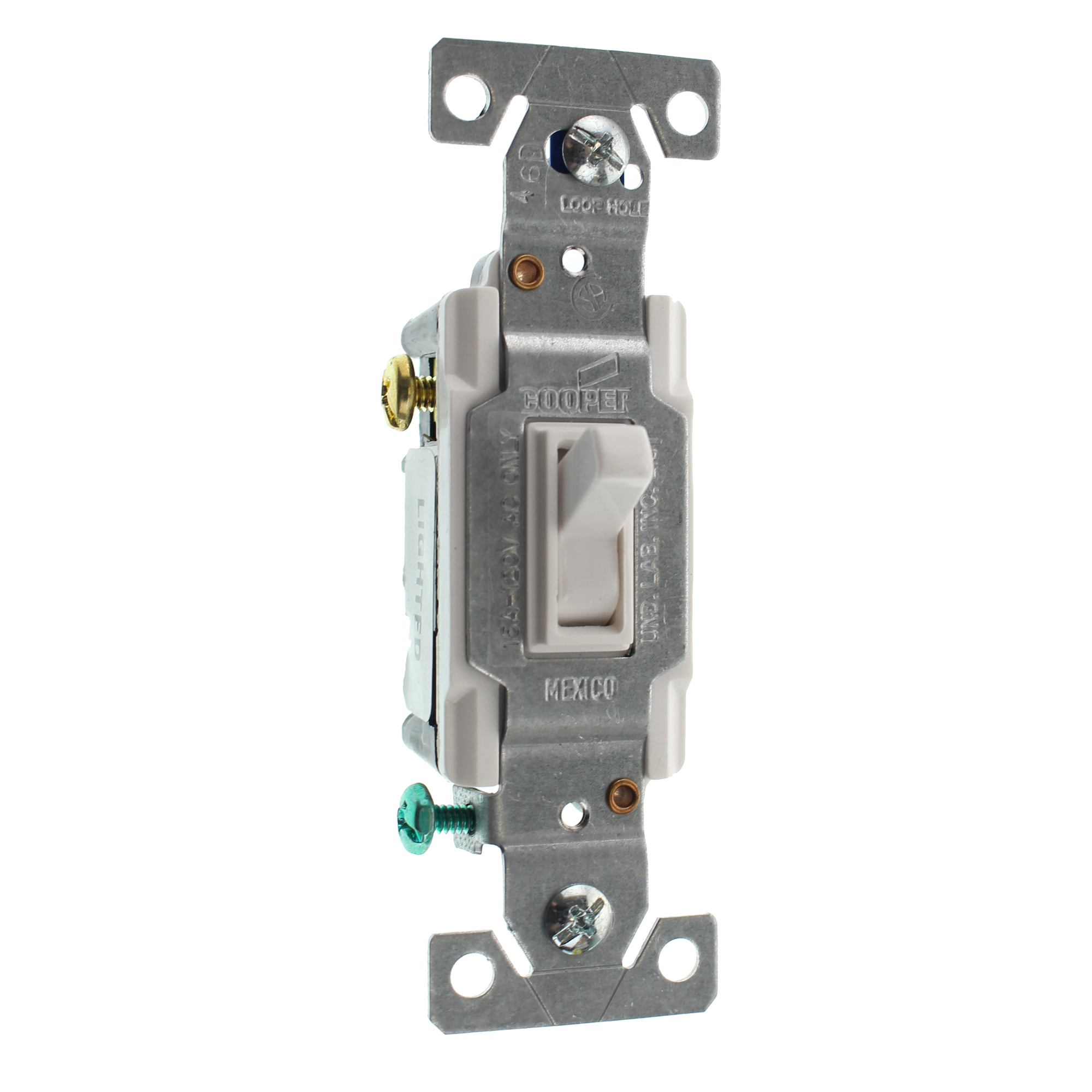 EATON COOPER C1303-7LTW-L LIGHTED TOGGLE SWITCH, 3-WAY, 15A, 120V ...