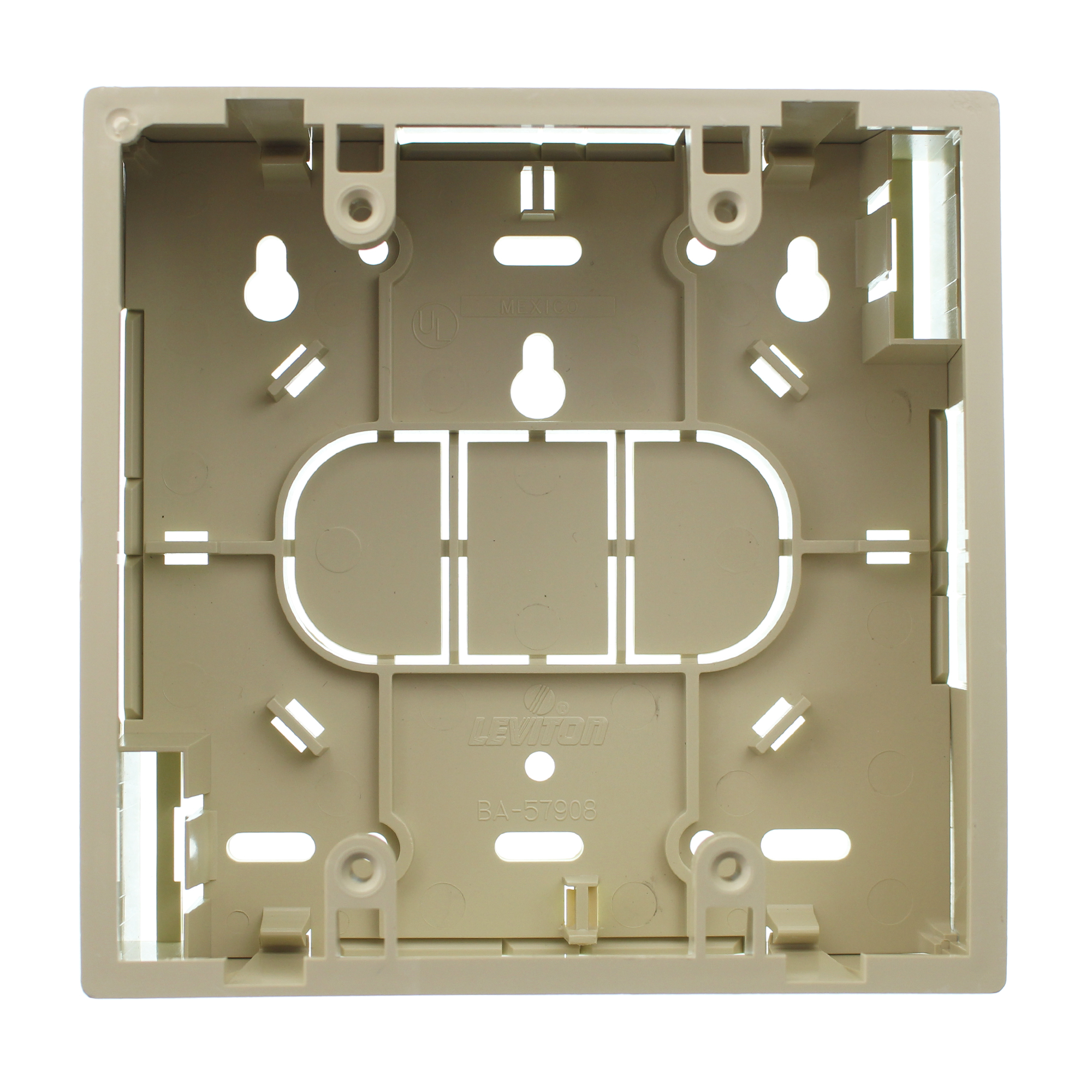Dual Gang 1.45 Ivory Leviton 42777-2IB Surface Mount Backbox
