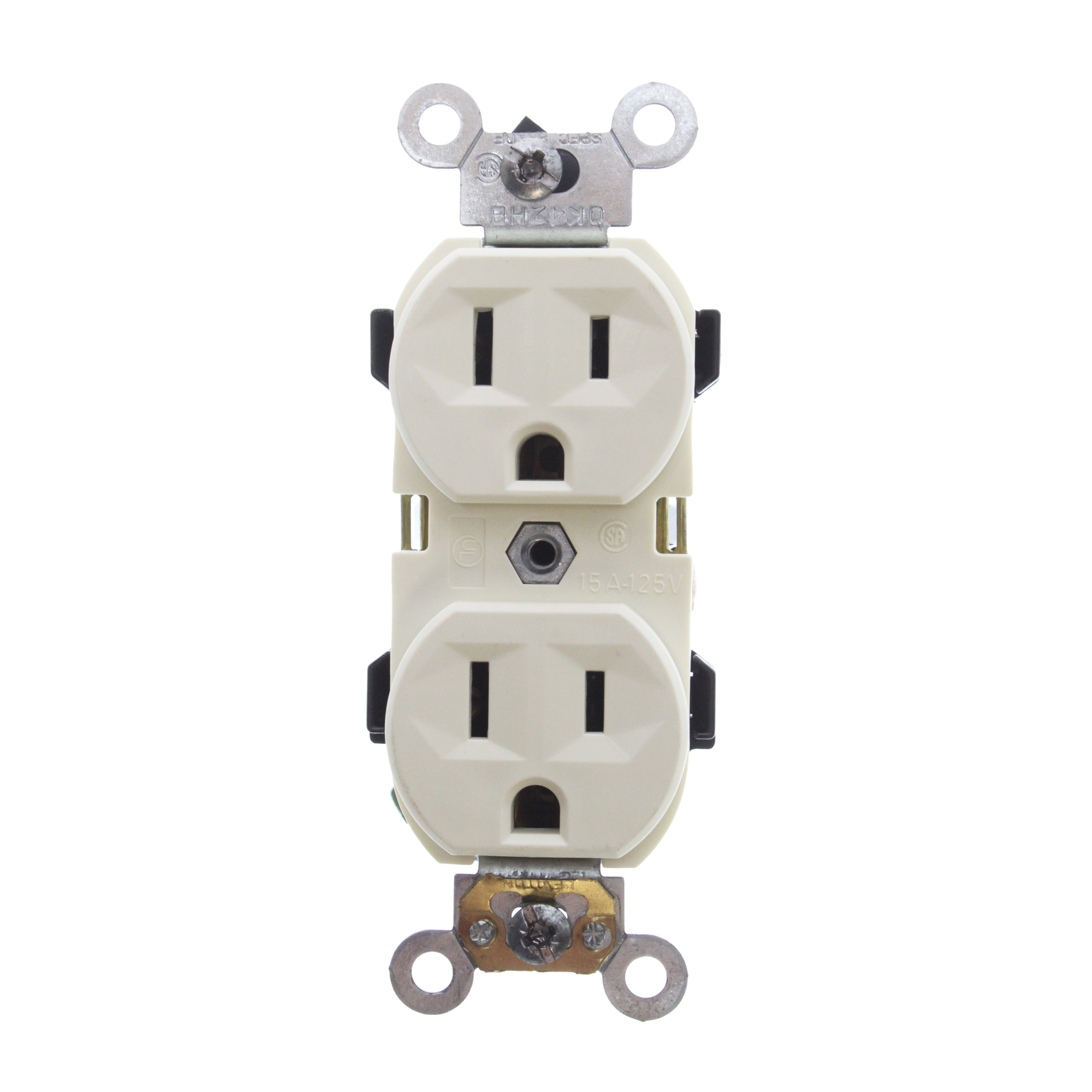 LEVITON BR15-A SELF GROUNDING DUPLEX RECEPTACLE, 15A 125V, 2P, 3W ...