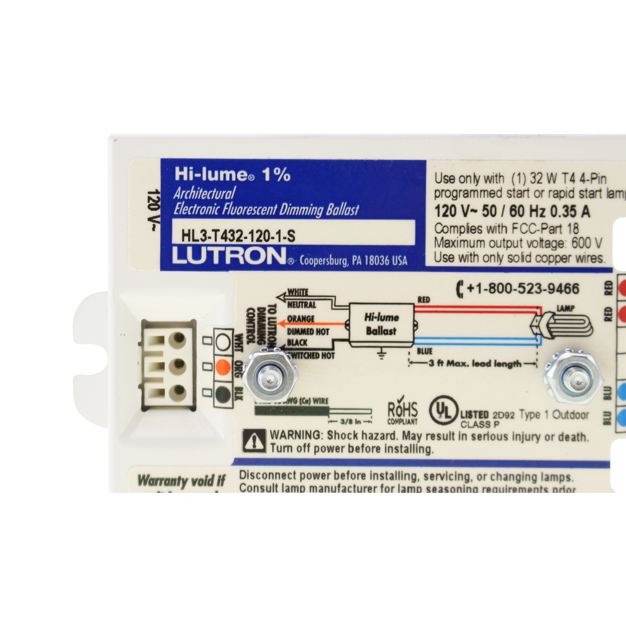 How To Wire Up A T5 Ballast Schematics Data Wiring Diagrams Electronic Dimming Diagram Lutron Hl3 T432 120 1 S Hi Lume Lamp Cfl 32w Ebay Light Fixture