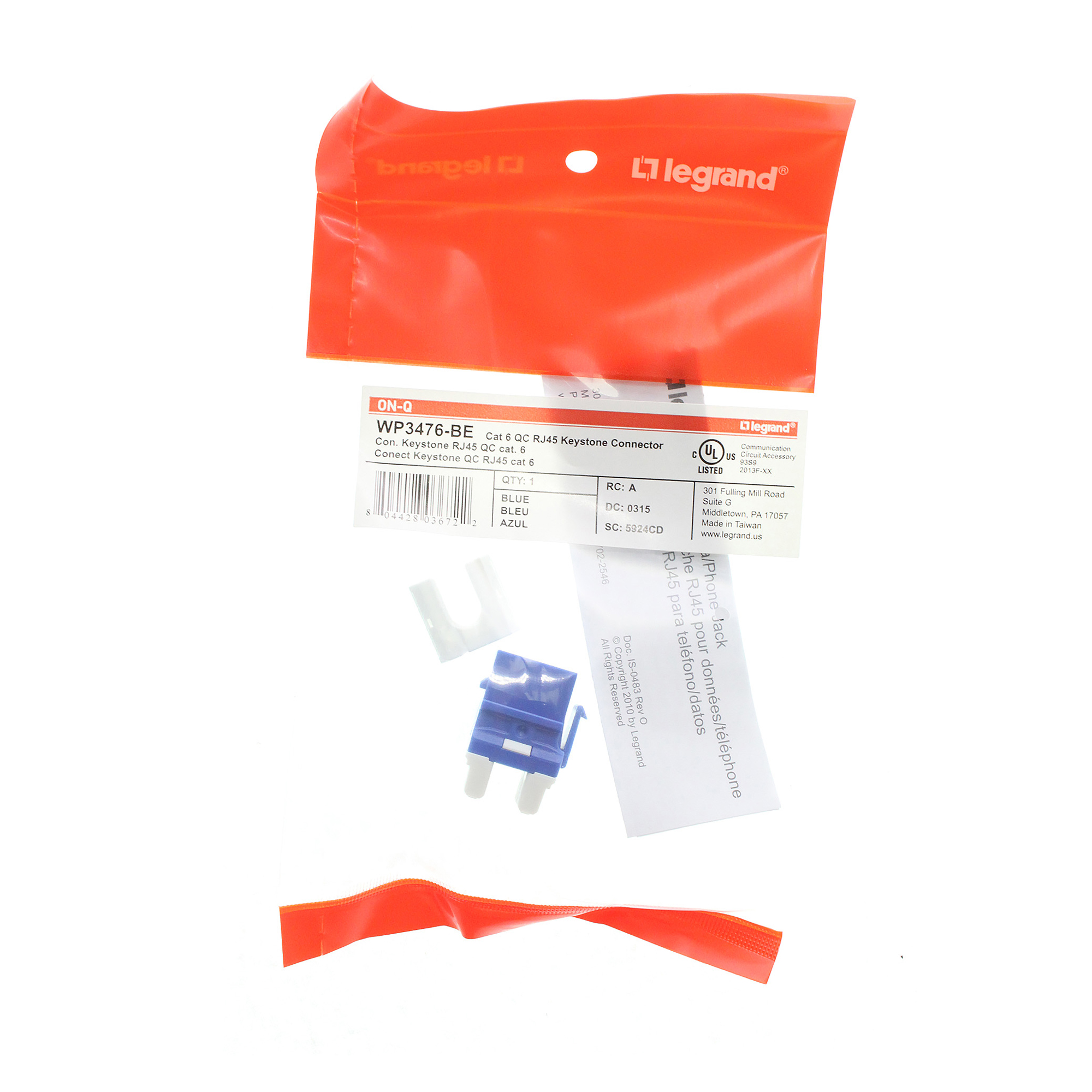 Blue On-Q WP3476BE Cat6 RJ45 Quick Connect Keystone Insert with 110 Punch-Down Legrand