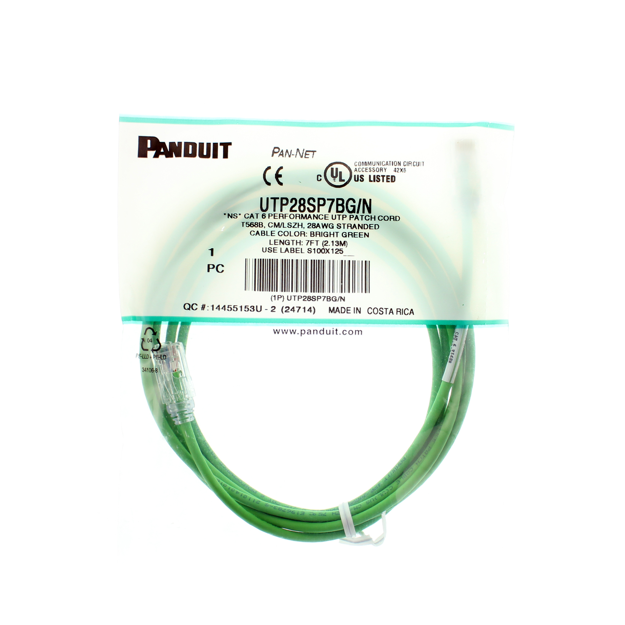 Panduit Utp28sp7bg N Cat6 Cable Utp Patch Cord 7 Feet Bright Green Ethernet Plug Wiring Arrange Wires Per Eiatia T568b We Gladly Accept Payments By Paypal Visa Mastercard Discover American Express