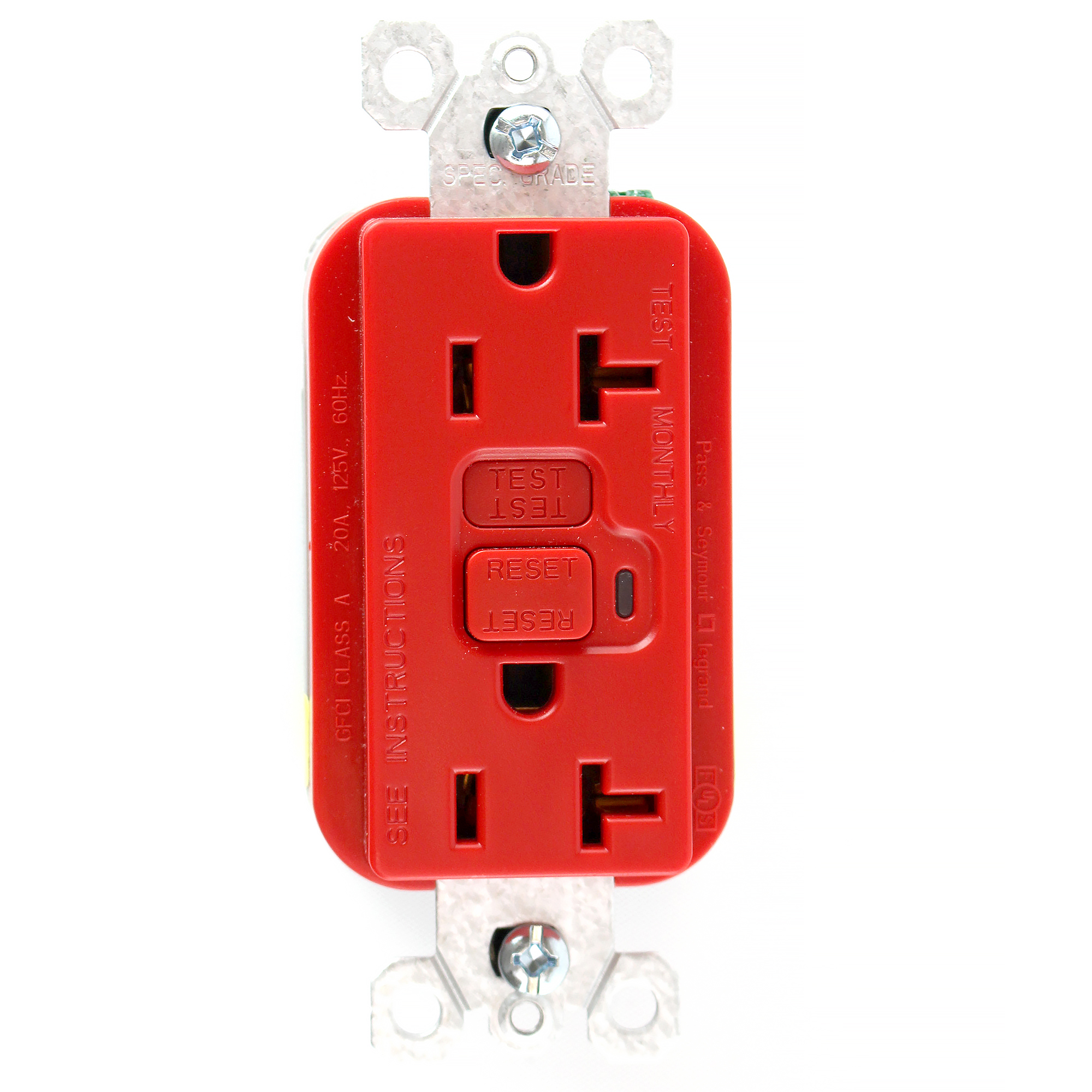 Pass Seymour 2095 Red Gfci Receptacle With Led Indicator 20a 125v