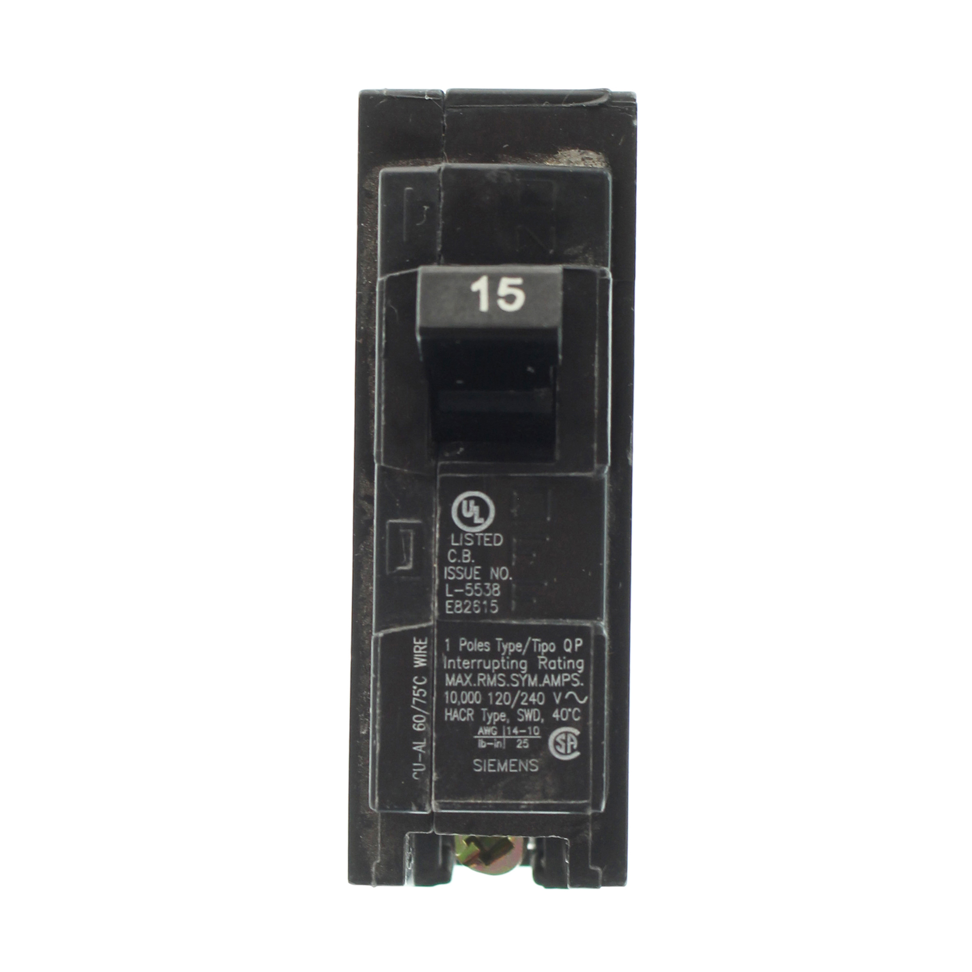 Siemens QP Q115 1 Pole 15 Amp Circuit Breaker | eBay