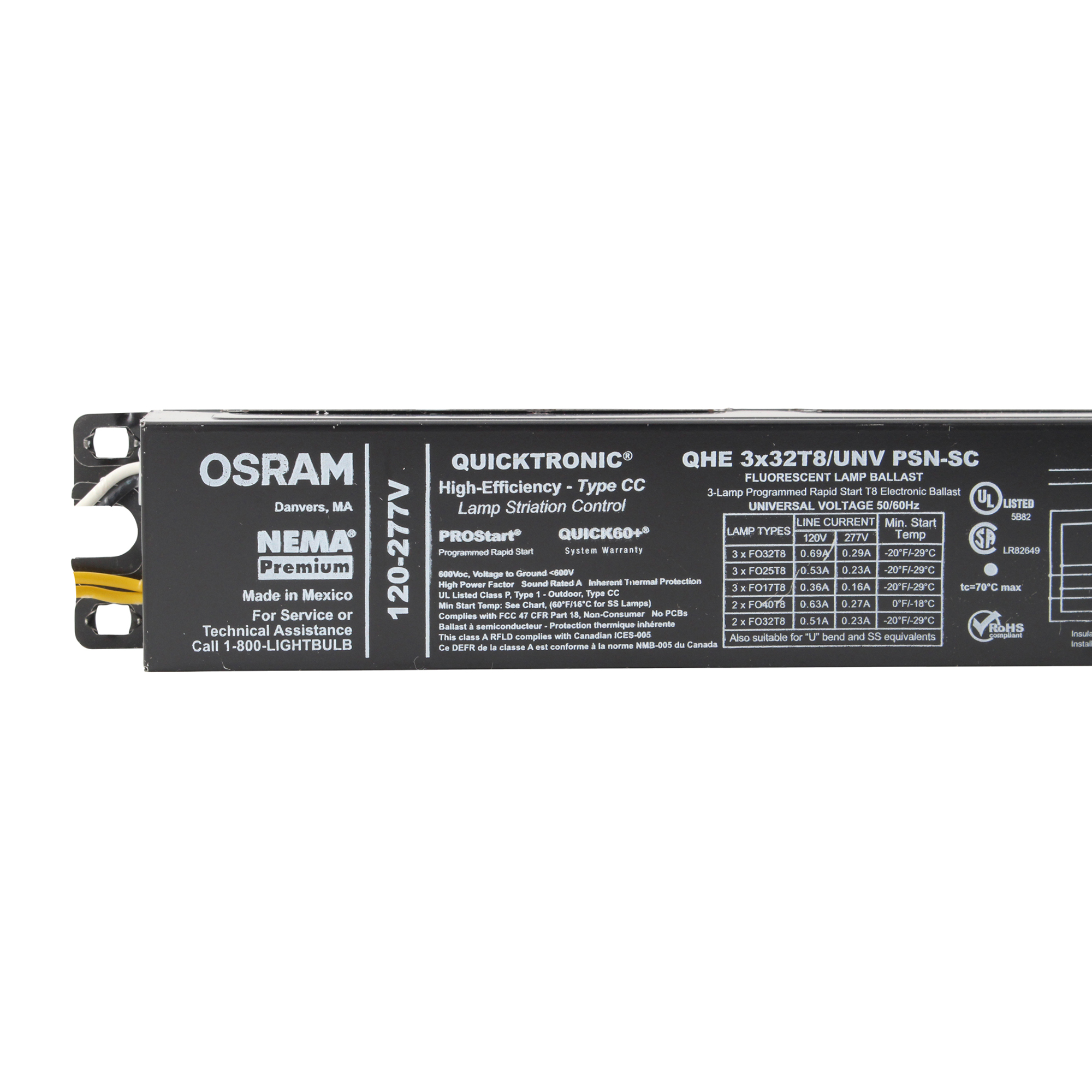 Osram Quicktronic Ballast QHE3X32T8//UNV ISN-SC-HIGH EFFICIENCY LAMP STRIATION