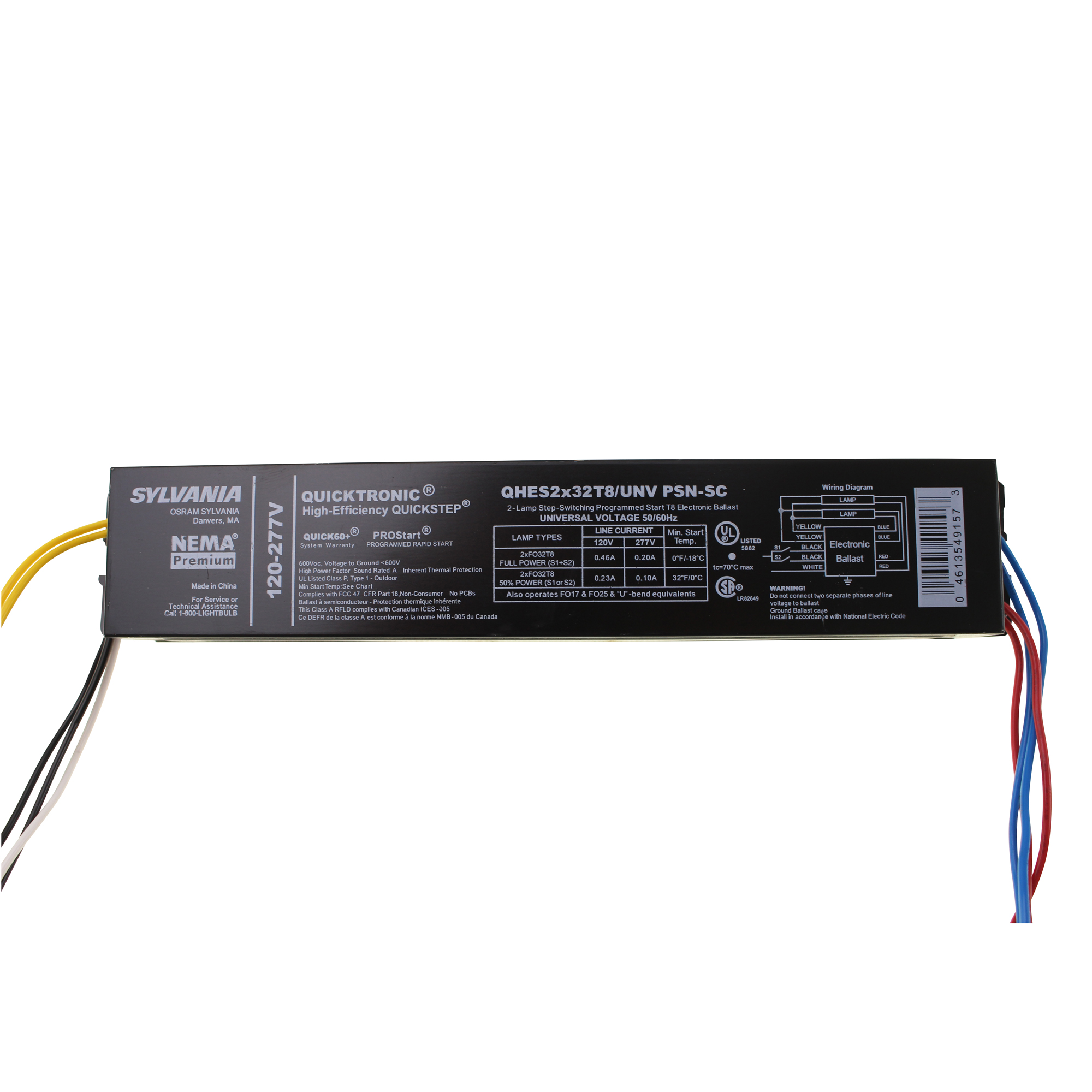 THIS AUCTION IS FOR 1 SYLVANIA QHES2X32T8/UNV PSN-SC FLUORESCENT BALLAST, 2  LAMP, 32W, T8, 120/277V