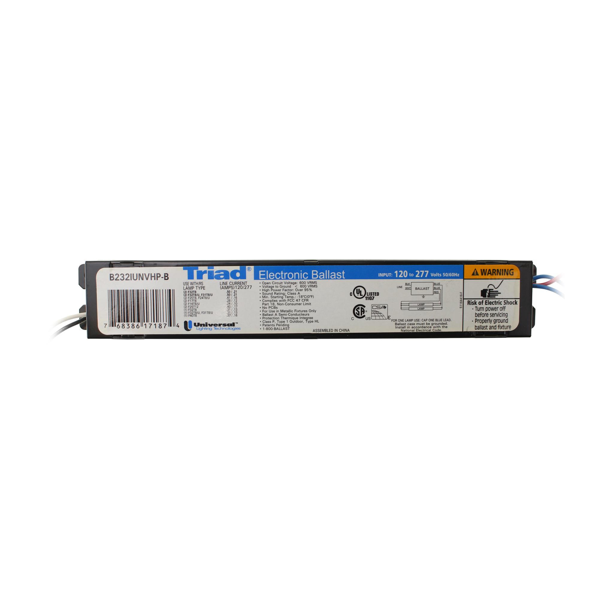 B232IUNVHP-N Universal Triad® Electronic Fluorescent Ballast 120-277 Volts B3