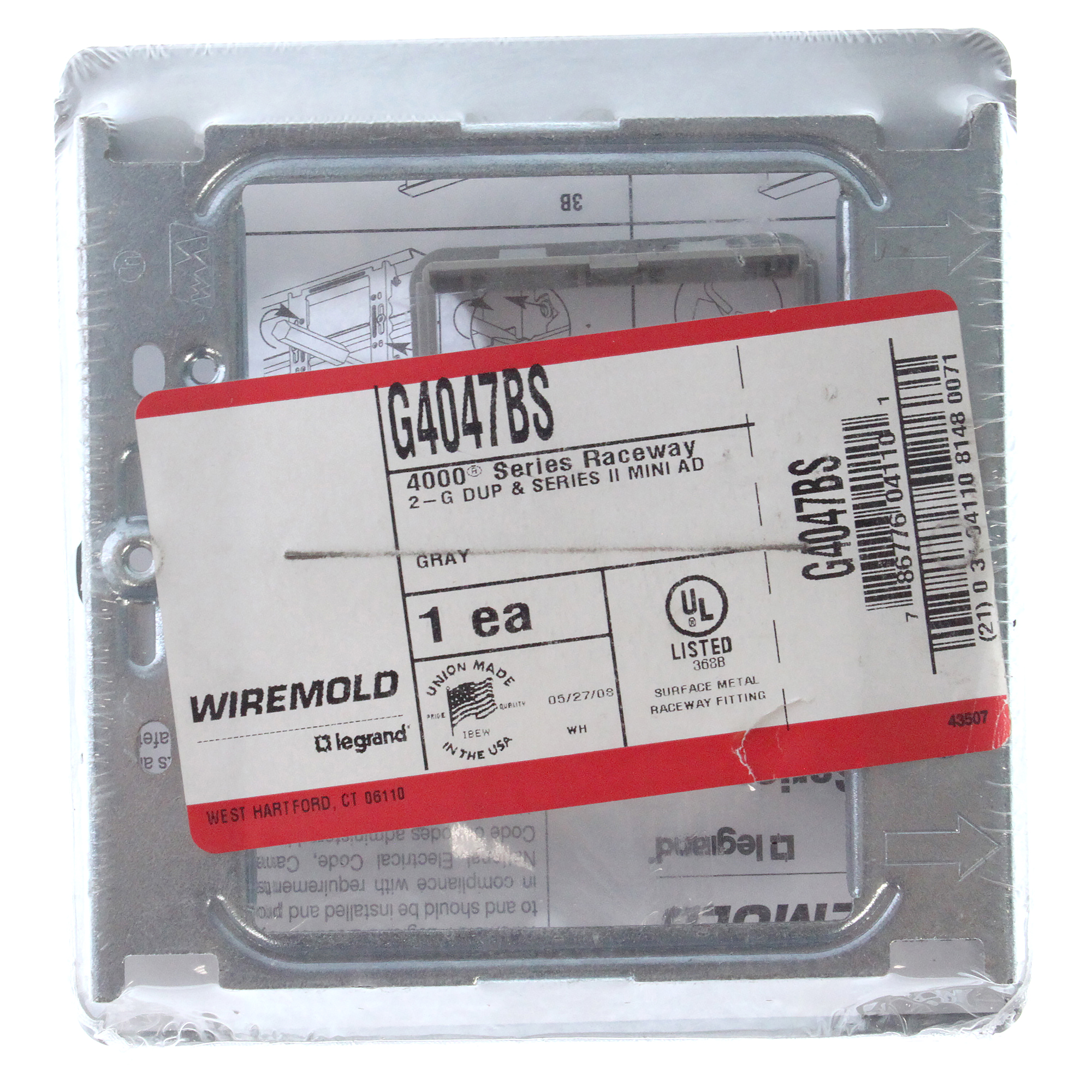 Wiremold Legrand G4047BS 2-gang Cover Plate 4000 Series Raceway Gray ...