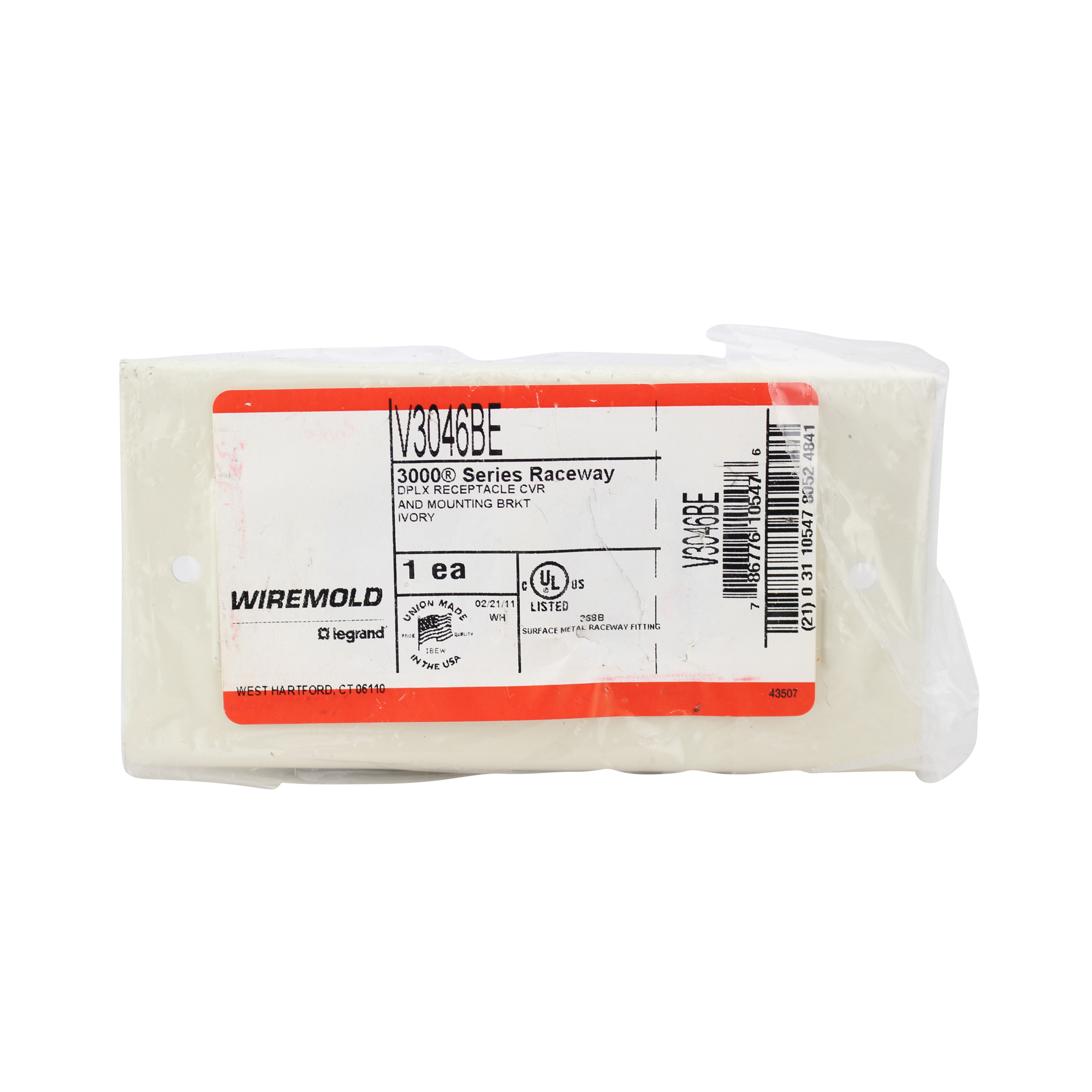 WIREMOLD V3046BE 3000 SERIES RACE-WAY DUPLEX RECEPTACLE COVER, IVORY ...